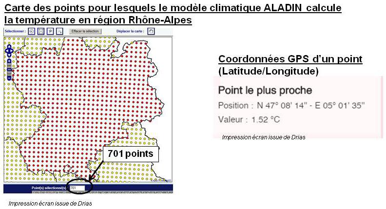 Carte des points pour lesquels le modèle ALADIN calcule la température en région Rhône-Alpes