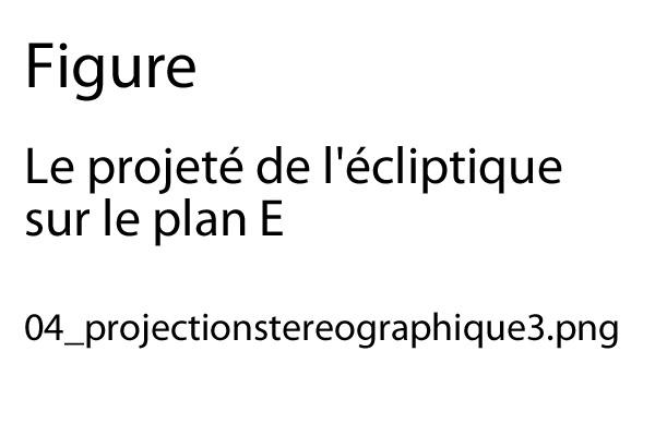 Figure 8 à venir : Le projeté de l'écliptique sur le plan E.