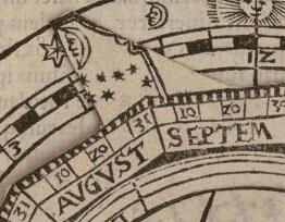 Lecture de l'orientation de la Lune sur la volvelle «cadran nocturne», Fo. 49