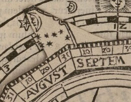 Volvelle «cadran nocturne», Fo. 49r Détail index lune