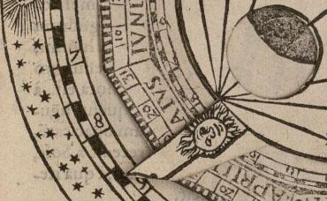 Volvelle «cadran nocturne», Fo. 49r Détail index soleil