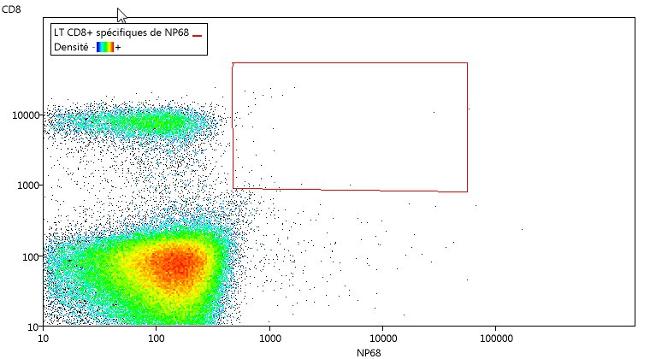 Délimitation des lymphocytes T cytotoxiques qui reconnaissent le peptide NP68 du virus de la grippe au jour 0.