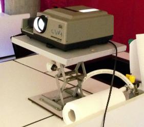Projecteur modélisant le soleil et ses rayons parallèles