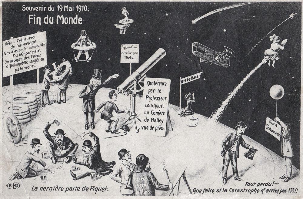 """La comète de Halley en 1910 : Gravure de """"Fin du monde"""""""
