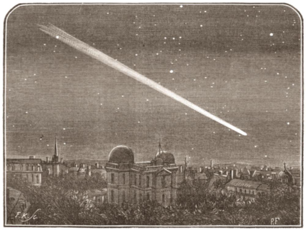 La comète de Halley lors de son passage de 1910 (dessin Th. Moreux)