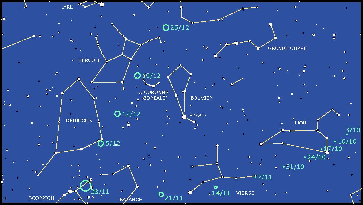 Carte indiquant la position de la comète ISON d'octobre à décembre 2013.