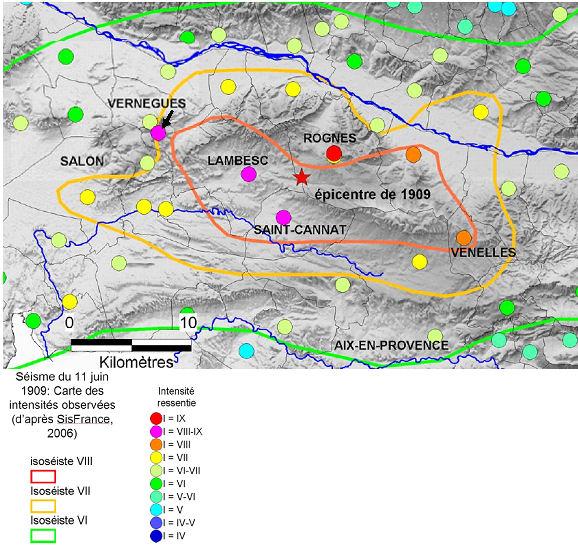 Document 3: Carte des isoséistes réalisée en 2006 à partir des données SisFrance