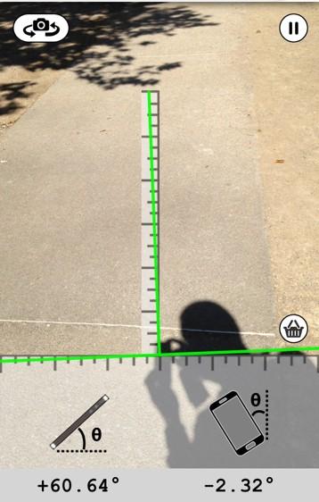 """Vue de l'écran de l'appli """"angle meter"""""""