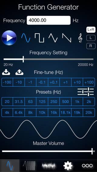 Exemple de génération du signal avec Function Generator sur IOS