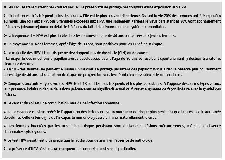 Points clés de l'épidemiologie HPV.