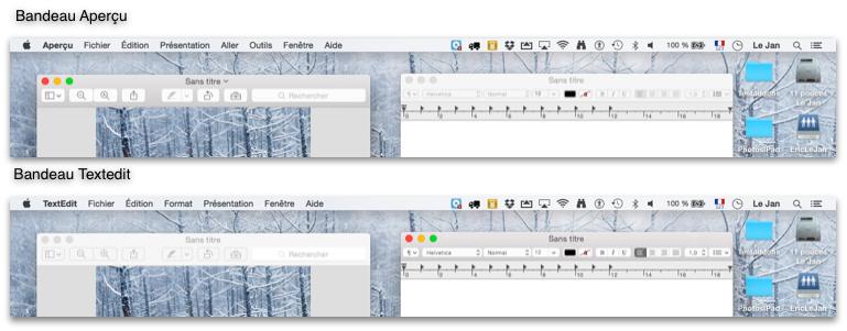 Deux exemples de bandeaux pour Aperçu et TextEdit
