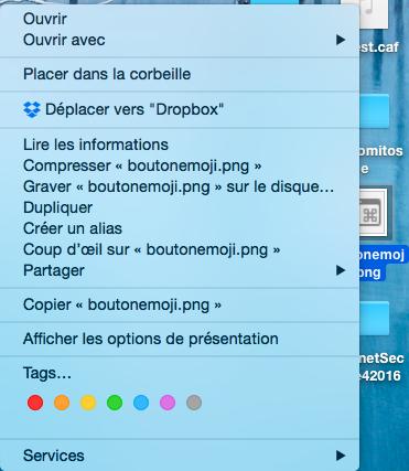 Le menu contextuel appliqué à un fichier