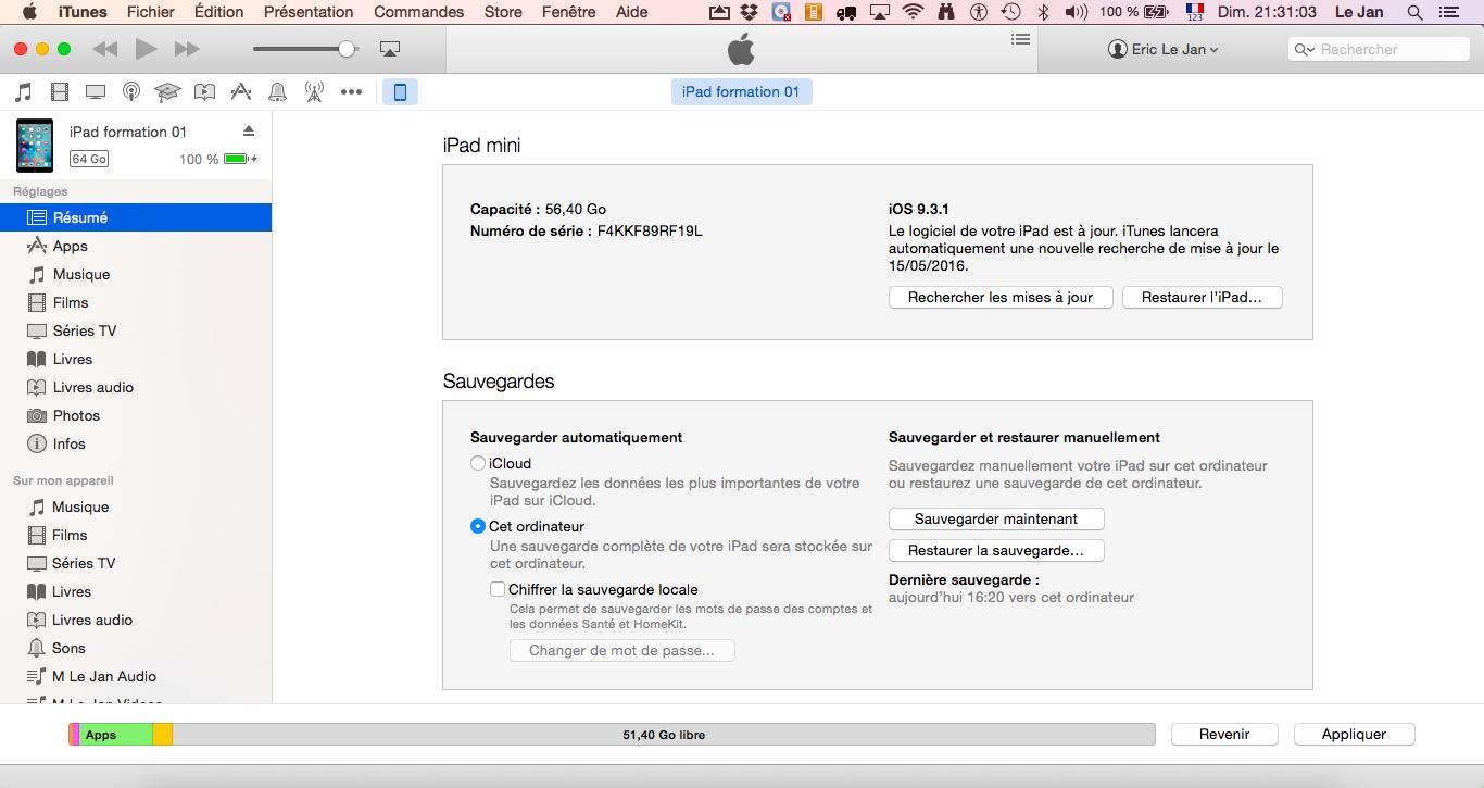 Réglage des préférences d'iTunes pour les appareils