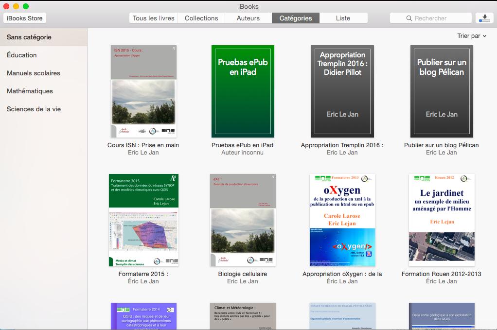 Aspect de la bibliothèque iBooks