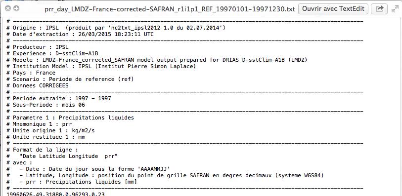 Structure de l'en-tête du fichier .txt.