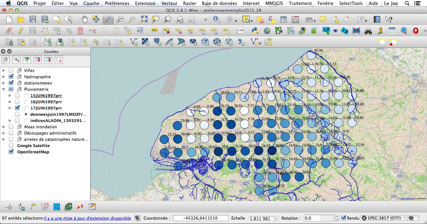Affichage de la couche et visualisation des données.