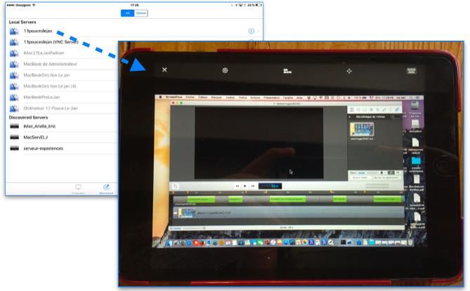 Sélection de l'ordinateur et vue du bureau sur l'iPad