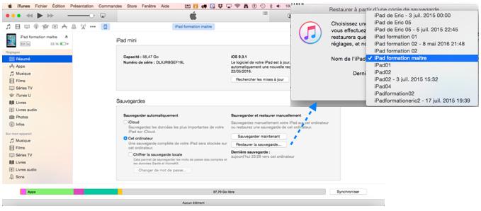 Utilisation de iTunes pour restauration d'un iPad