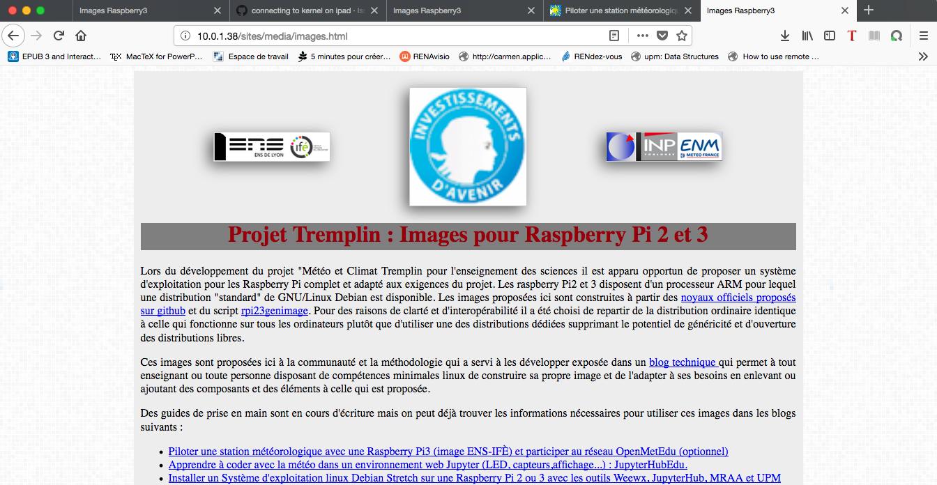 Serveur web : page de téléchargement des images Tremplin