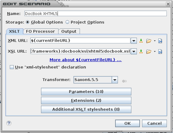 Configuration de la transformations docbook XHTML5