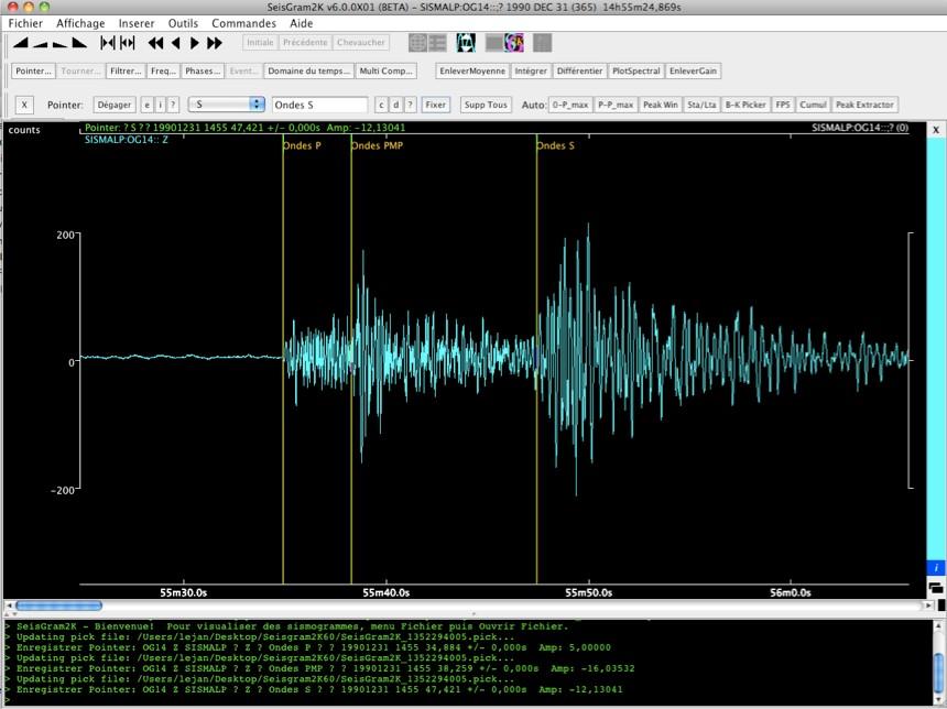 Le sismogramme annoté