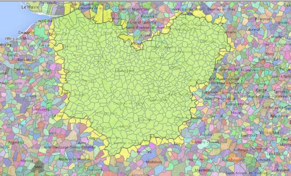 Les communes qui intersectent le département de l'EURE