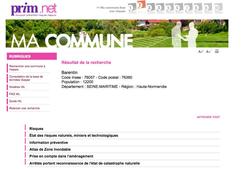 """Le site prim.net """"ma commune et les risques"""""""