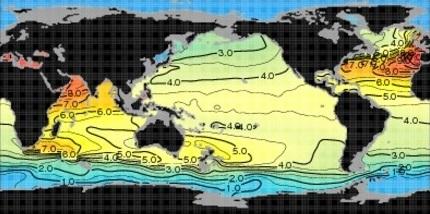 Température des eaux à 1000m de profondeur (World Ocean atlas, 2013)
