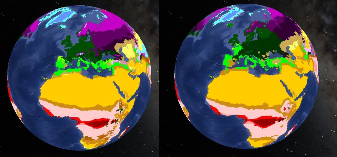 Évolution de la répartition des zones climatiques entre 2001 et 2100 en cas d'évolution vers un scénario A1
