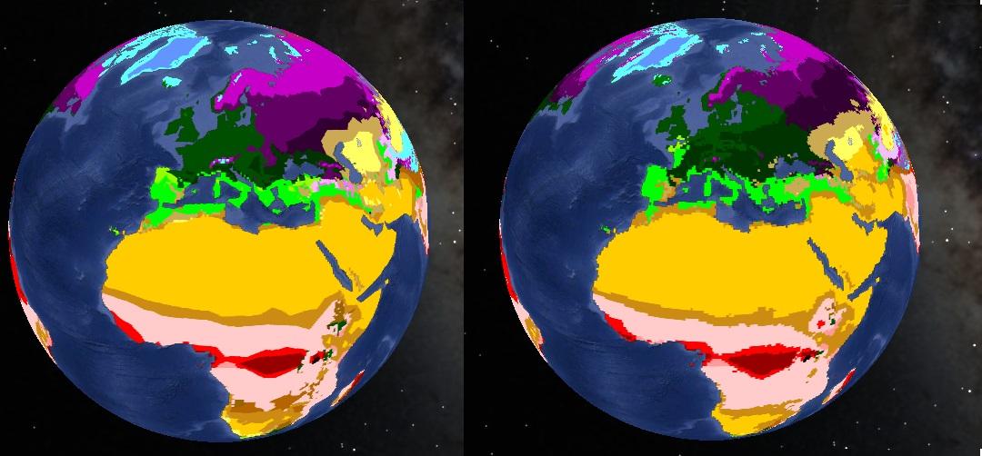 Évolution de la répartition des zones climatiques entre 2001 et 2100 en cas d'évolution vers un scénario A2