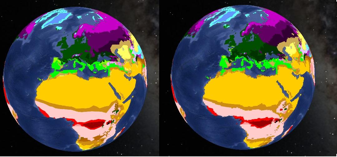 Évolution de la répartition des zones climatiques entre 2001 et 2100 en cas d'évolution vers un scénario B1