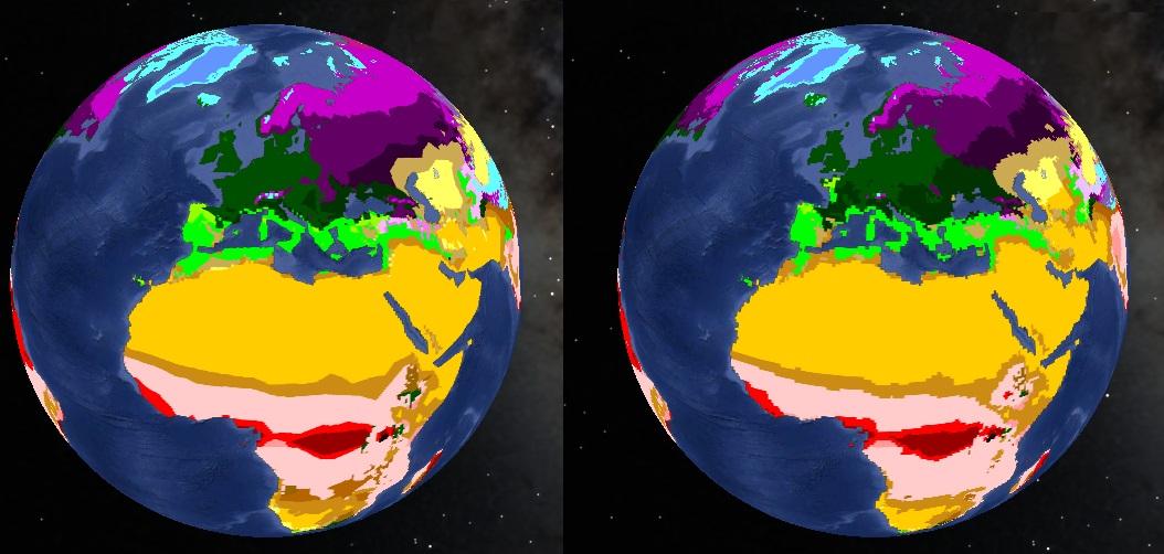 Évolution de la répartition des zones climatiques entre 2001 et 2100 en cas d'évolution vers un scénario B2