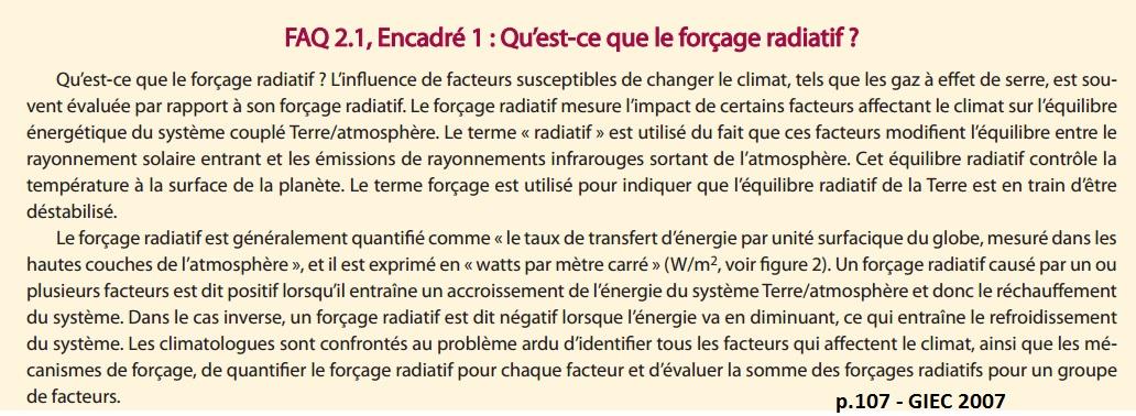 définition selon le GIEC du Forçage radiatif