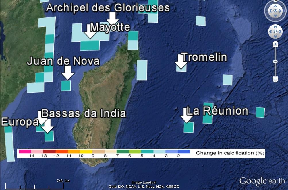 Décalcification des récifs dans la zone de Madagascar avec un forçage RCP2.6