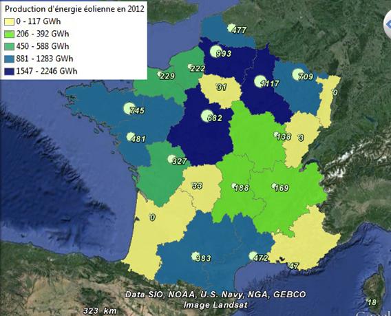 Production d'énergie d'origine éolienne et puissance installée en France
