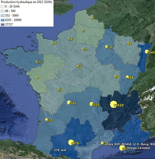 Production d'énergie hydroélectrique et puissance installée en France