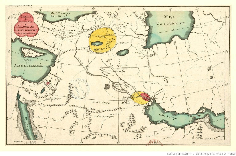 Carte du premier âge ou situation du paradis terrestre selon les divers autheurs / Desbruslins sc.