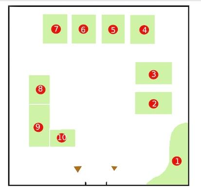 Le plan du jardin dans le patio du bâtiment des sciences (réalisation Thibaud)