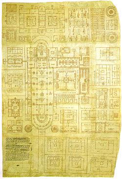 Plan original de St Gall et Plan en couleur de celui-ci.