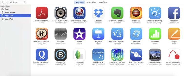 Figure 4: liste des app téléchargées