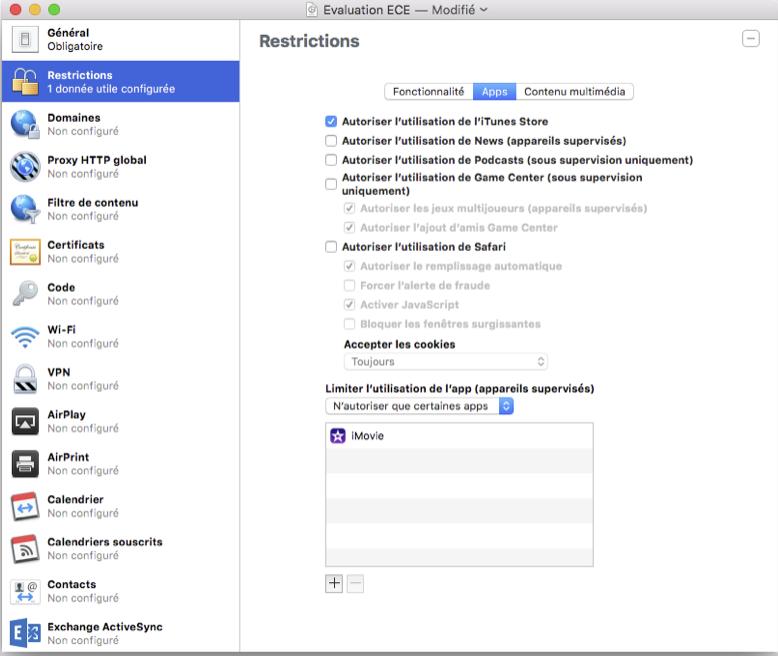 Figure 13: Onglet restriction-Apps