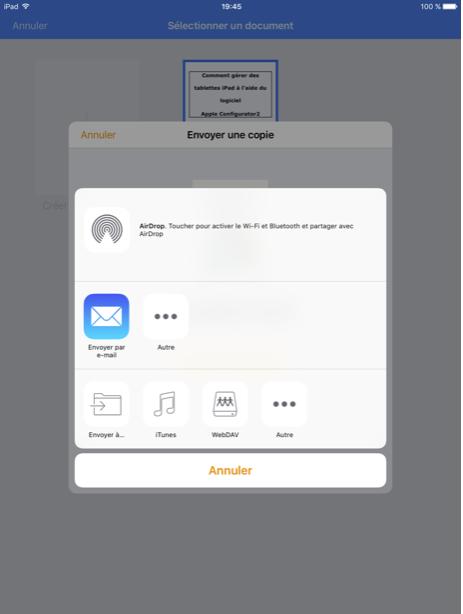 Figure 27: Mode d'envoi sur iTunes