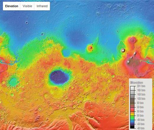 Planisphère de Google Mars
