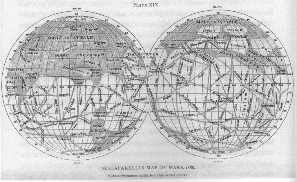 Planisphère de la planète Mars par Schiaparelli